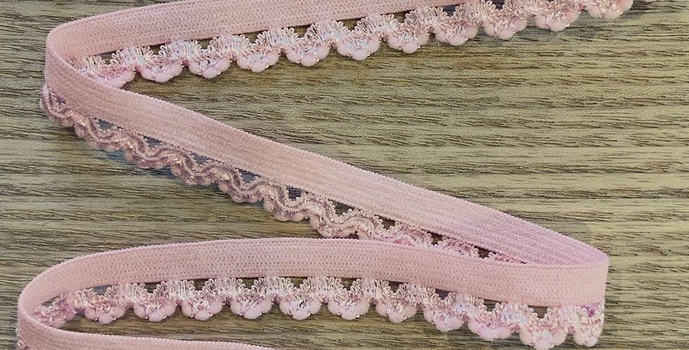 Marshmallow Pink Hand Dyed Picot Elastic...