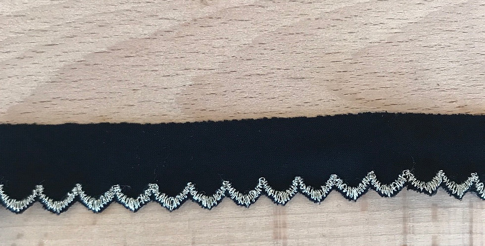 Black Embroidered Picket Edge Trim....
