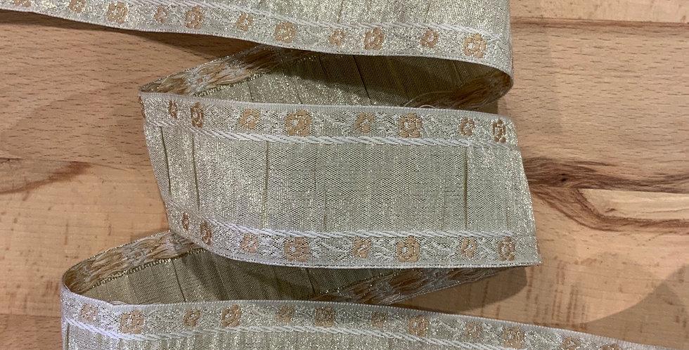 Gold Embroidered  Taffeta Ribbon