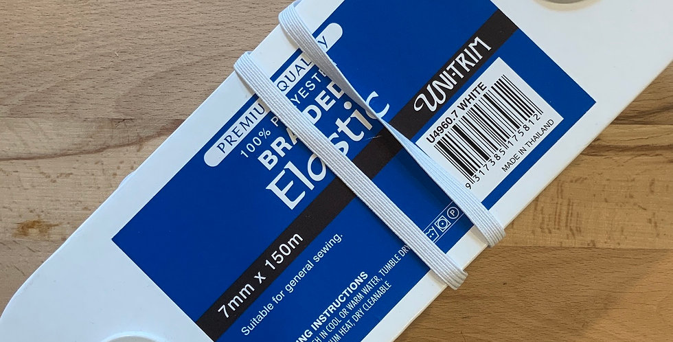 7mm White Braided Elastic 150mtr Roll
