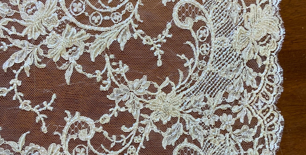 Cream Hand Beaded French Lace Tulle Piece...#507