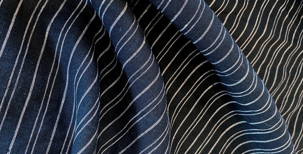 Bio Wash navy stripe linen