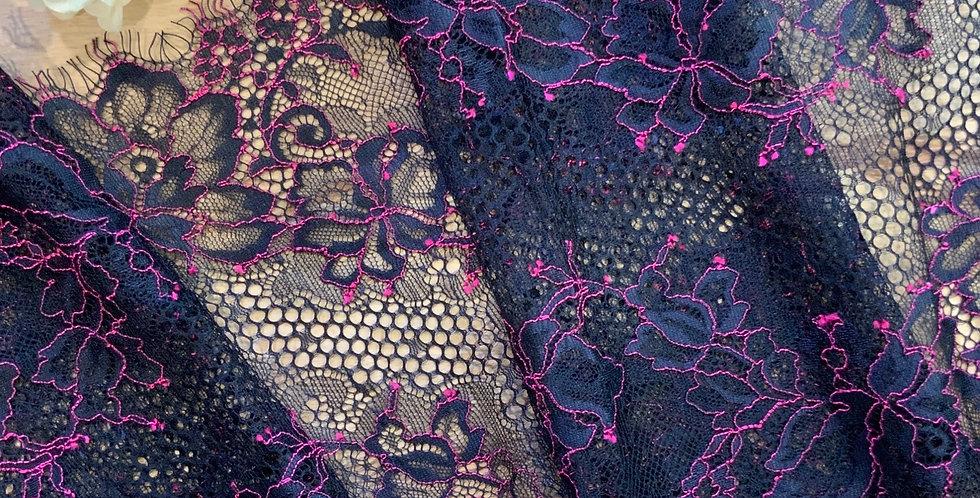 Poison Black Fuchsia Eyelash Lace 1.3mtr piece...