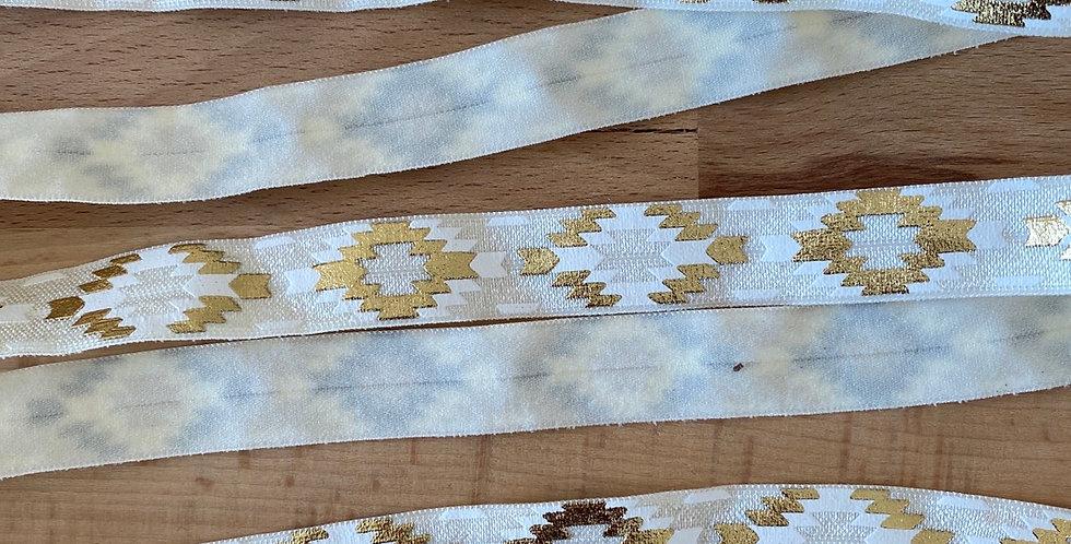 Ivory Aztec fold over elastic