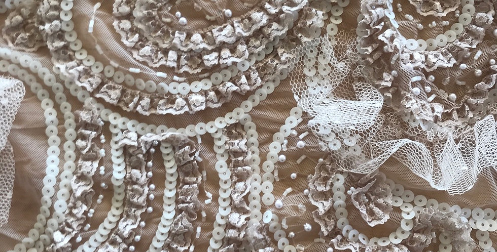 Mocha beaded lace piece #28