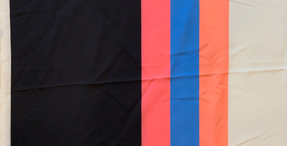 Border Stripe Mechanical Stretch Polyester Suiting Remnant...