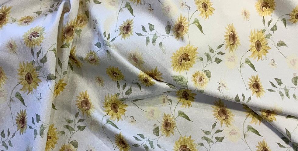 Family Fabrics Vintage Sunflowers Cotton Jersey Small Cut…