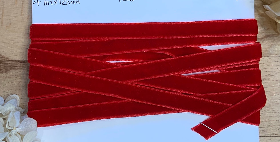4.7mtrs Red 12mm Velvet Ribbon