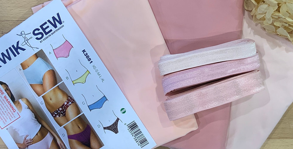 Blush Pink Brief Bikini  Hipster and Thong Kit