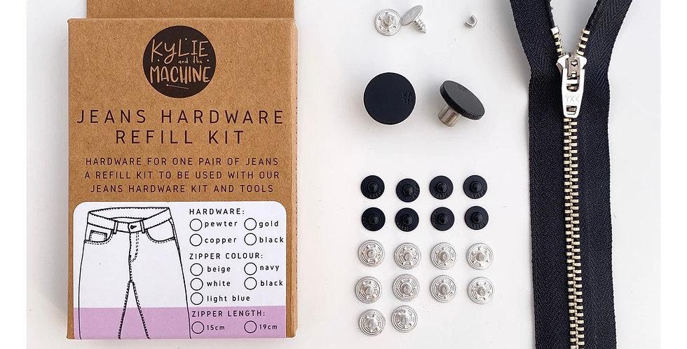 KATM jeans hardware refill kit black 19cm zip