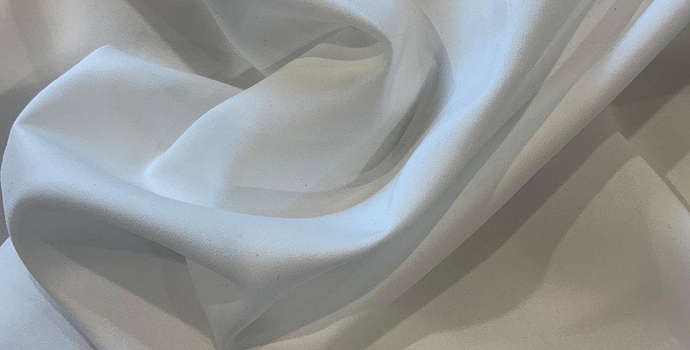 White Super Fine Stretch Polyester Crepe de Chine Remnant