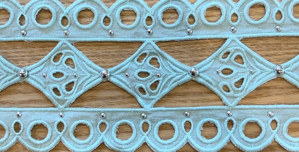 Riviera Aqua Embroidered Cotton Studded Insertion Lace...