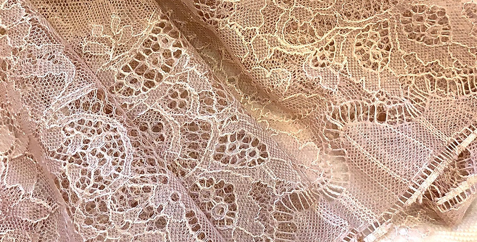 Dusty Pink Hand Dyed French Chantilly Lace