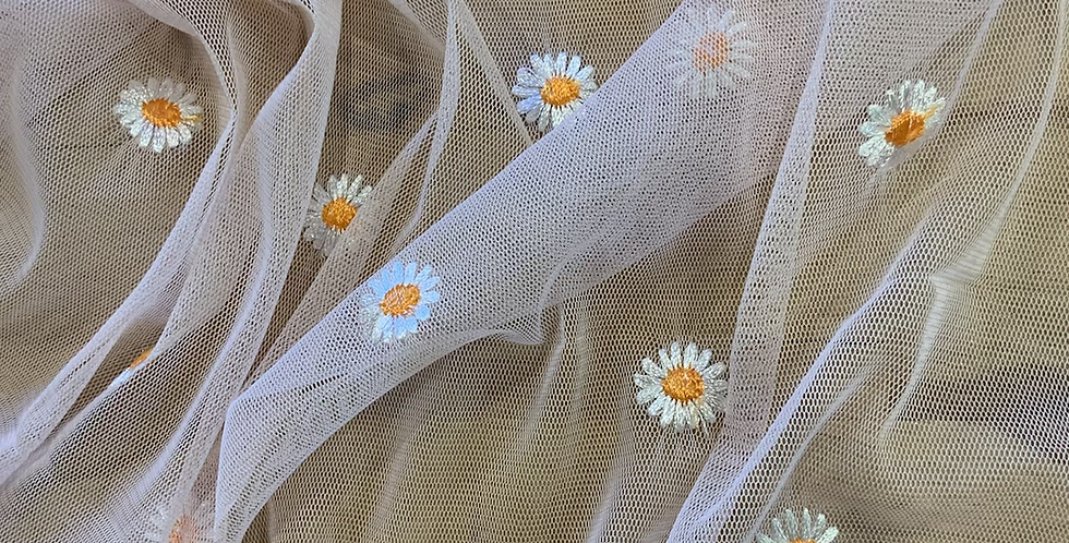 Soft Pink Daisy Embroidered Mesh small Cut