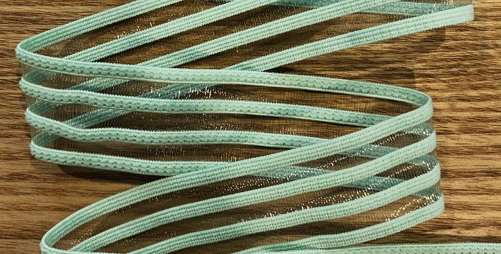 Mint Hand Dyed Sheer Stripes Strapping Elastic...