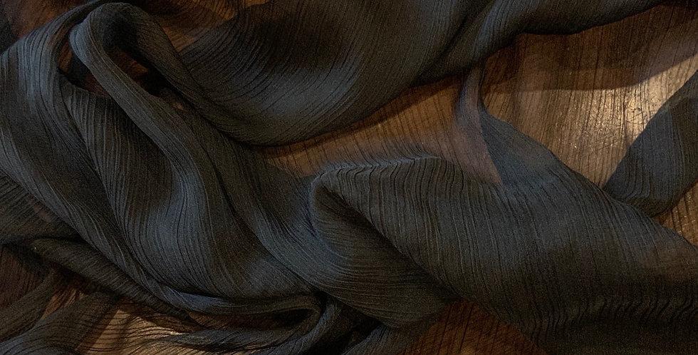 Black Crinkle Polyester Chiffon