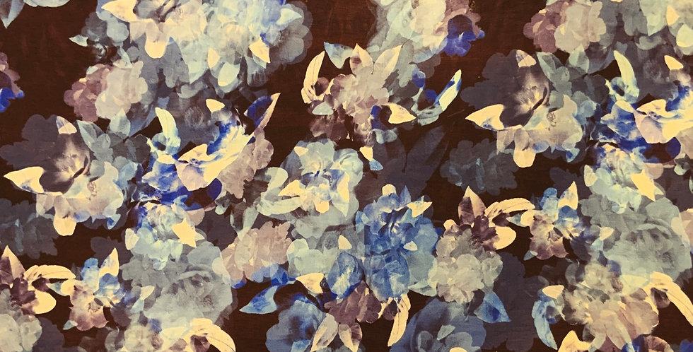 Blue Lagoon Floral Silk Chiffon...