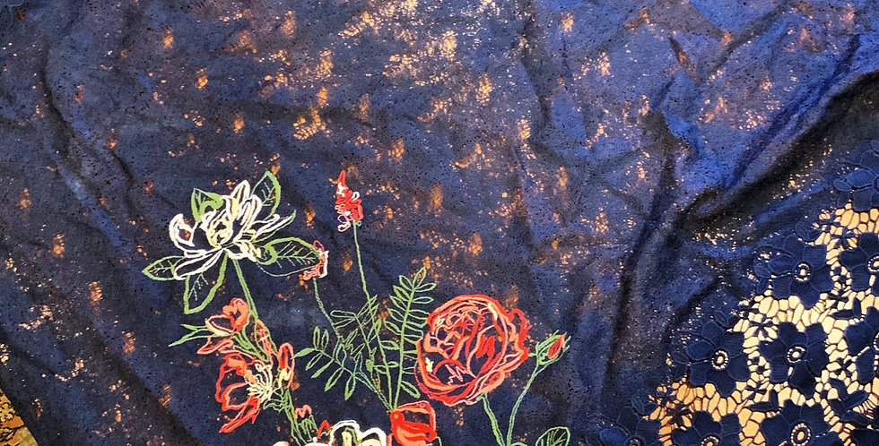 Navy Floral Embroidered Lace Remnant
