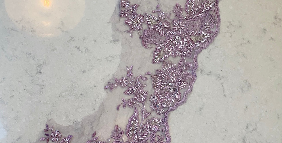 Lilac Hand Dyed Beaded Lace Off Cut #707...
