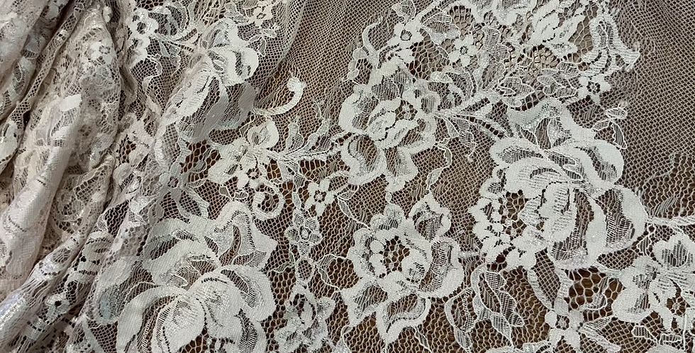Pale Mocha Pink Hand Dyed Lace Off Cut #5013