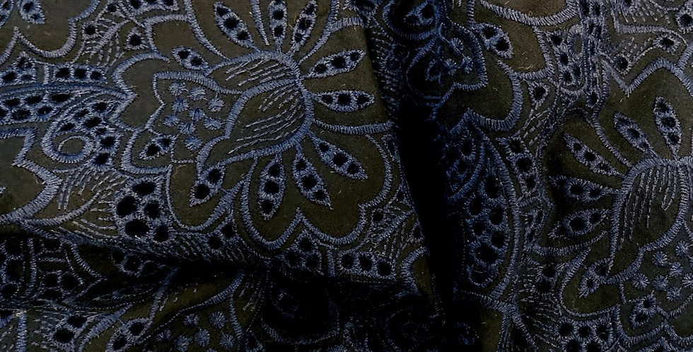 Midnight Lotus Embroidered Cotton...