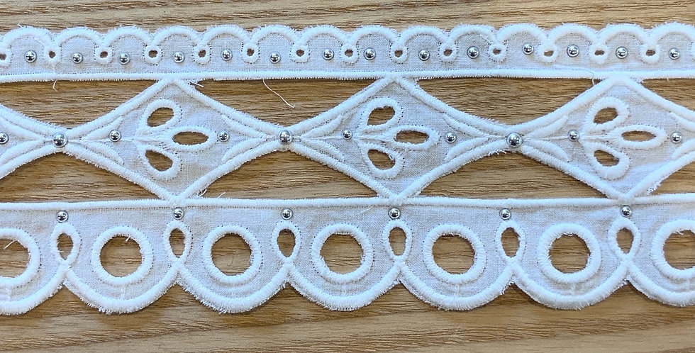 Riviera White Double Edge Embroidered Cotton Studded Lace...