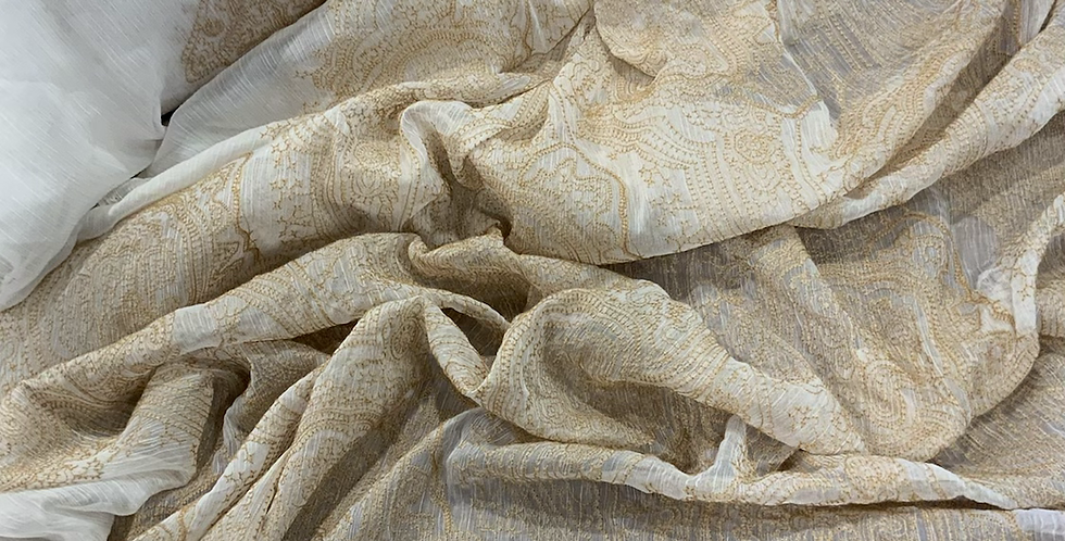 Ethereal Gold Embroidered Crinkle Polyester Chiffon...