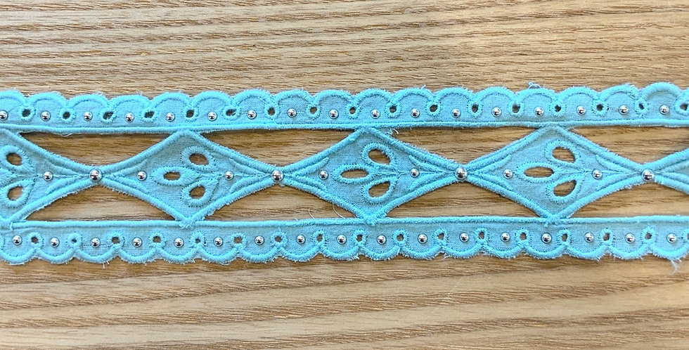 Riviera Island Blue Cotton Embroidered Studded Insertion Lace...