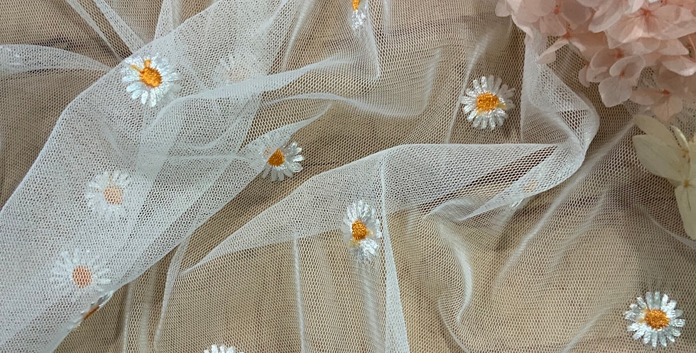 Daisy Chain Embroidered Mesh Small Cut