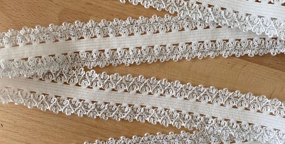 Silver glitter double crown edge elastic