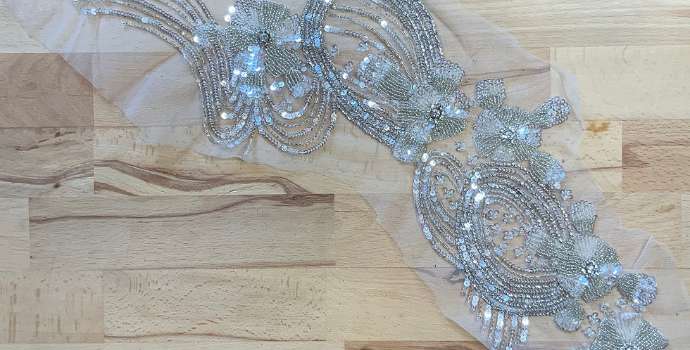 Silver / Ivory Hand Beaded Tulle Piece #J5