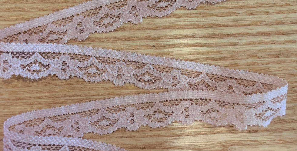 Pale Mocha Pink Stretch Lace Edging...