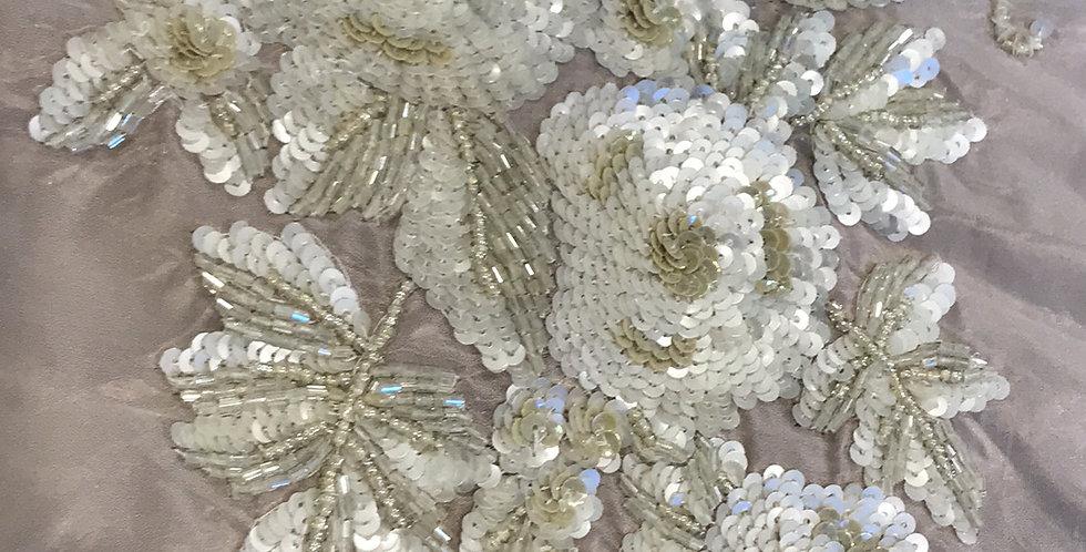 Mocha fleur sequin motif small