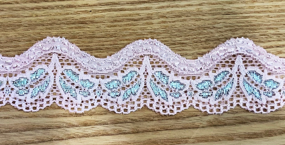 Candy Pink Lurex Hand Dyed Scallop Stretch Lace...