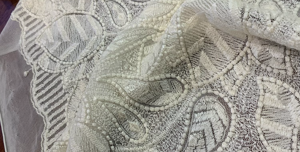 Cream Leaves Wool Embroidered Mesh...