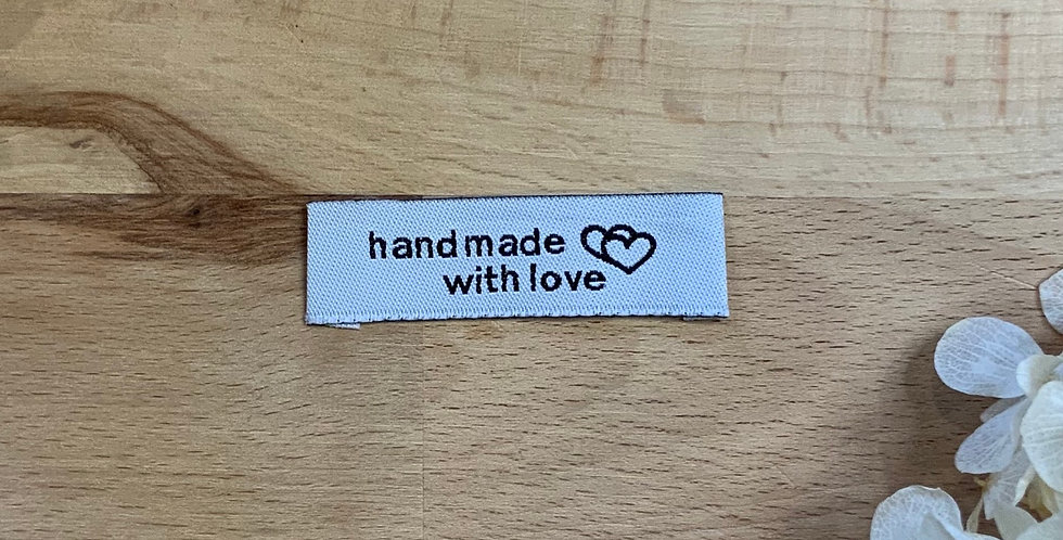 10 Black & White Handmade  With Love Embroidered Cloth Labels