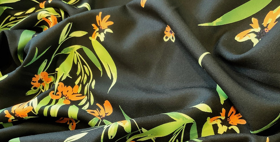 Leaves Stretch Polyester Crepe Remnant