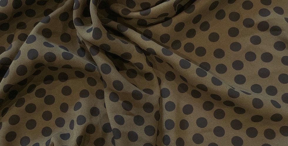 Khaki Spots Polyester Georgette Remnant