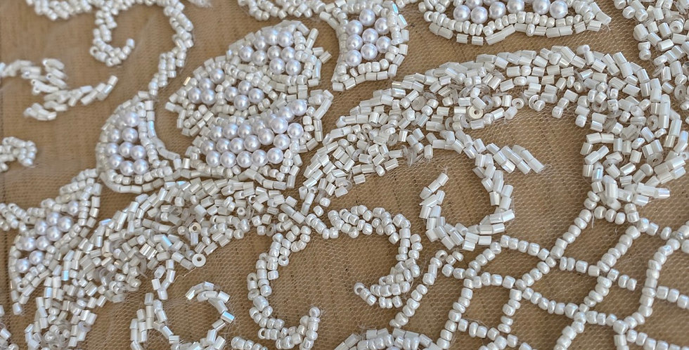 Ivory heavy beaded tulle piece A13