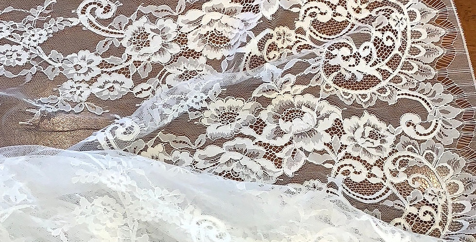 Charlotte Extra Wide White Chantilly Lace Panel