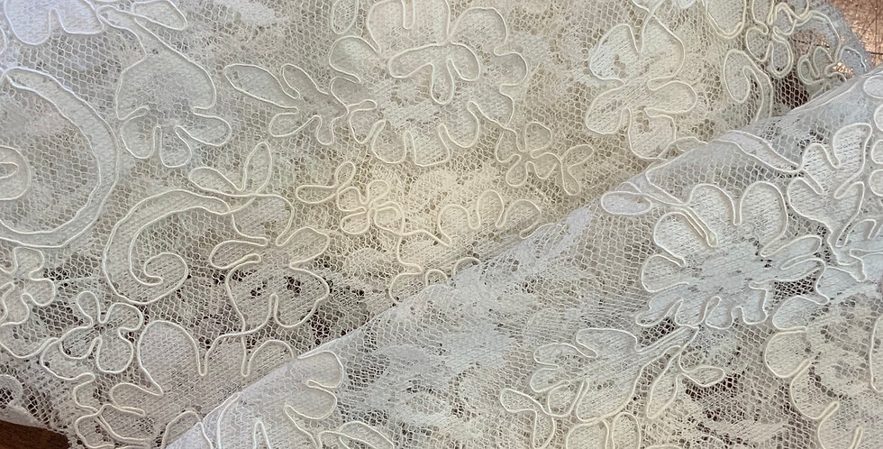 Annalise Ivory Corded Bridal Lace Trim....