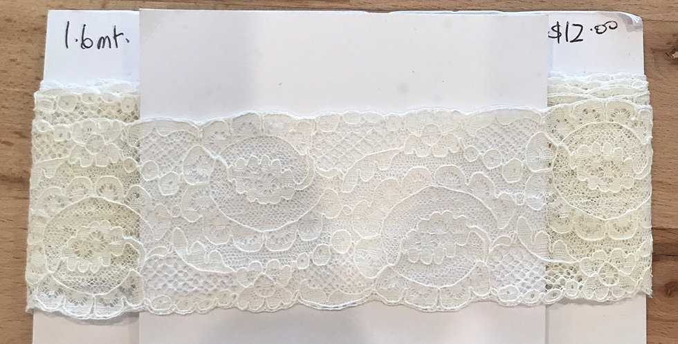 Ivory vintage English lace remnant