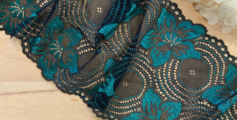 Margot Teal/Black Stretch Lace