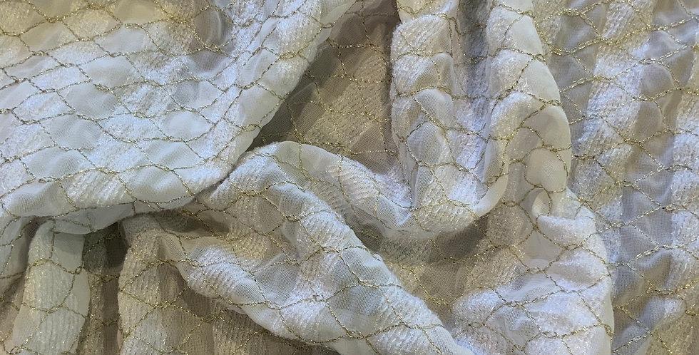 Ivory Stripes Polyester Lurex....