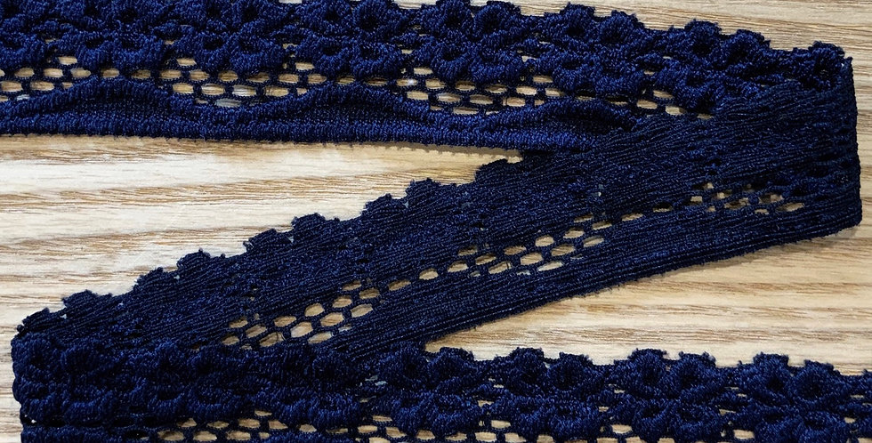 Navy Flowers Strech Lace...