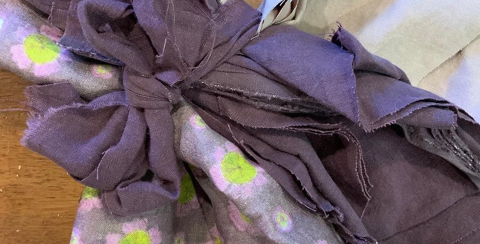 Grape Floral Small Linen Off Cuts