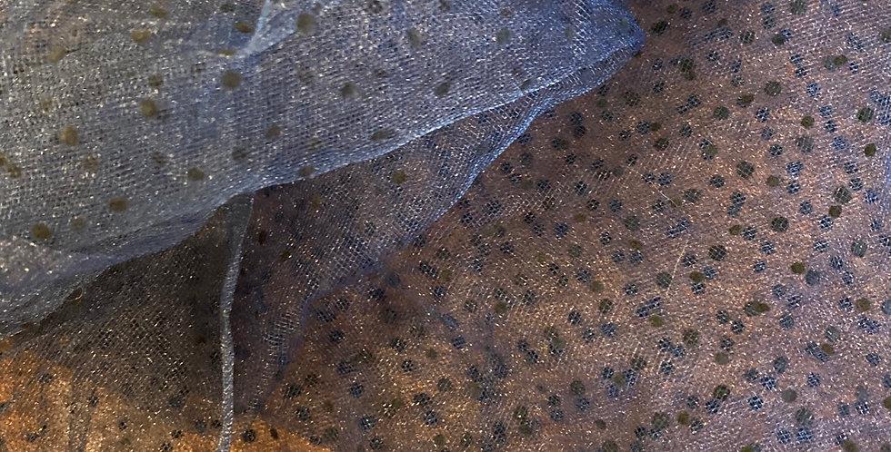 Navy black flocked spot net