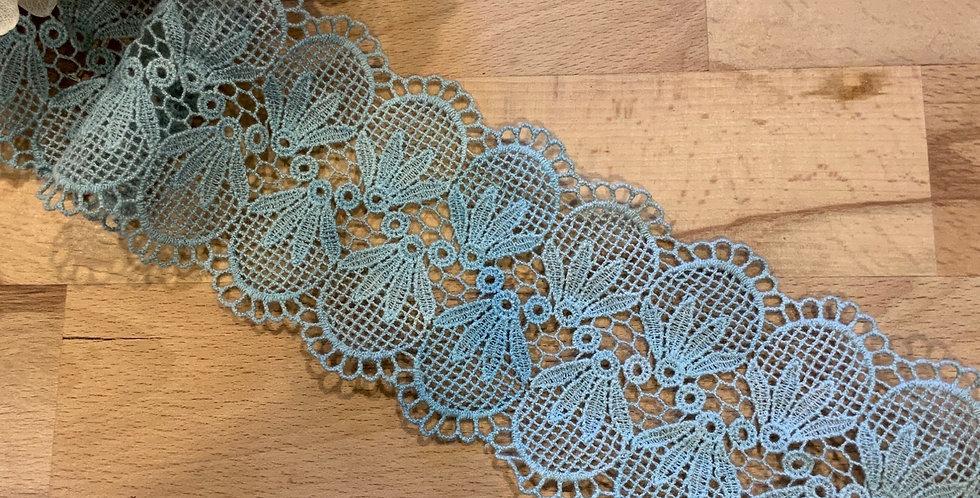 Esmarelda  Mottled Duck Egg Hand Dyed Crochet Lace Remnant