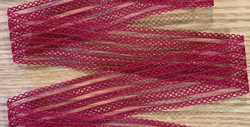 2.4 metres Raspberry Lattice Strapping Elastic
