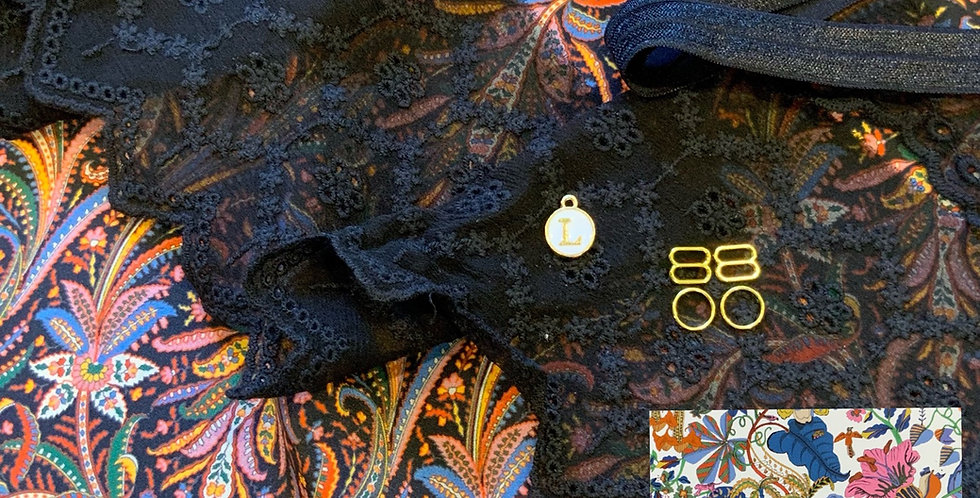 Elegance Black Liberty Silk Crepe de Chine Camisole / Slip Kit...